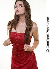 Bridesmaid - Attractive young long hair brunette woman...