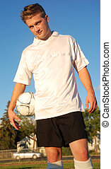 A soccer player in a field