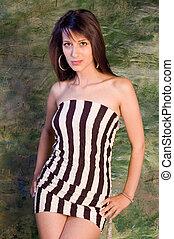 fashion woman - Fashion shot of a young pretty brunette...