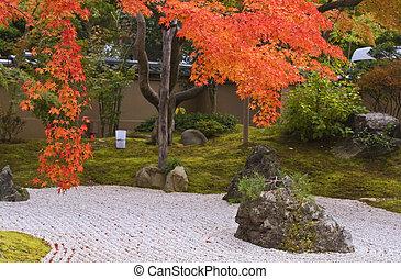 Autumn Japanese garden - Beautiful autumn Japanese rocks...