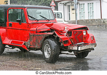 Crashed SUV - Crashed red SUV in traffic terrific accident