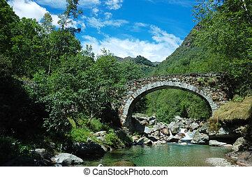 arch bridge - Aged arch bridge over a small mountain river
