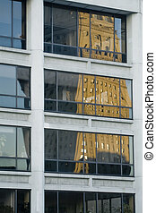 Tower reflexions - Reflexion of an old tower in a modern...