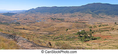Very large view on the valley, Andringitra park, Madagascar,...