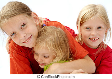 Red t-shirts - Portrait of young girls wearing red t-shirts