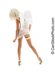 white angel on high heels 4 - white lingerie angel girl on...