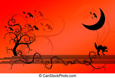 Halloween Background - Halloween illustration of trees and...