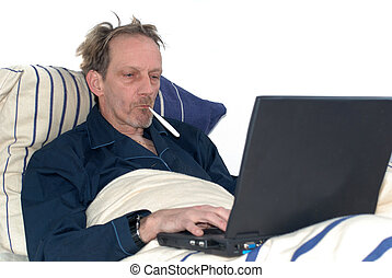 sick in bed with laptop - Middle aged man, workaholic, sick...