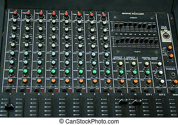 Music Mixing Board - a close up of a Music Mixing Board