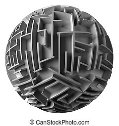 spherical maze - 3d spherical maze. White background.