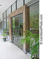 Business entrance - Modern business entrance glass marble...