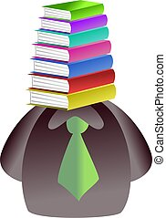 book face - man with a pile of books for a face - icon...