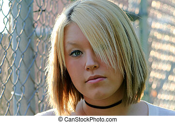Serious Young Blond Woman - Closeup portrait of a serious...