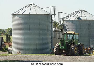 fazenda, trator, Silos