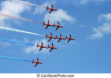 Red arrows - Hawk trainer jets flying in close formation