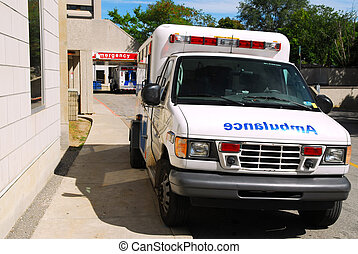 Ambulance at Emergency - Ambulance in front of Emergency...
