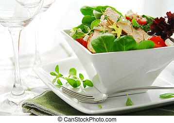 Salad - Fresh green salad with grilled chicken herbs and...