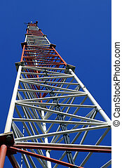 Radio Transmission Tower - An Angled Upward portrait view of...