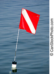 Dive Flag - A dive flag marking the location of scuba divers...