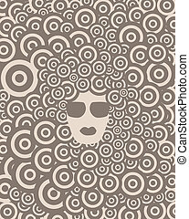 groovy girl - face of funky girl in glasses on abstract...