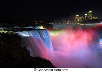 Niagara Falls Nightview - Colorfuil view of Niagara Falls at...