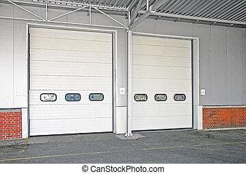 Double door - Big storage house loading double white door