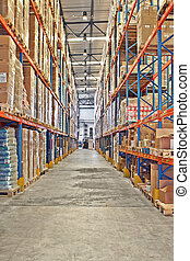 Shelves in line - Big warehouse storage room with boxes and...