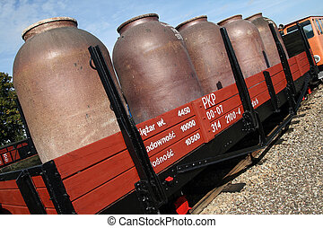 Train carriage with huge tanks on board