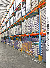 Storage shelf - Big warehouse storage room with boxes and...