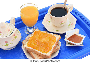 Breakfast tray clipping path - Breakfast tray with toasts,...