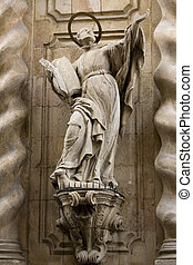 Saint on the side of a cathedral in Barcelona