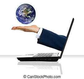 Saving the planet - a hand holding a planet from a laptop