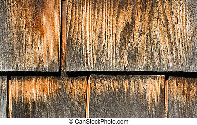 Weathered Wood Shingles - Weathered brown and gray exterior...