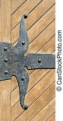 Antique Wood Door Hinge - An antique wrought iron black door...