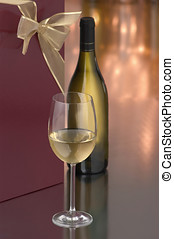 chardonnay wine gift - glass of chardonnay, bottle and gift...