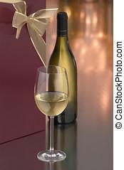 chardonnay wine gift - glass of chardonnay, bottle and gift...