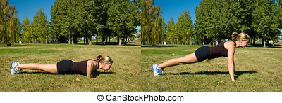 Push ups - Woman in black shorts doing push ups in the park.