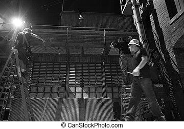 homens,  onstage, trabalhando