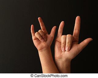 madre, niño, señal, amor