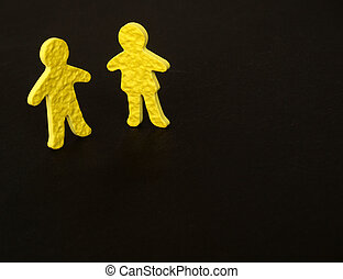 male female communication - textured yellow male and female...