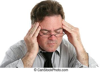 Severe Headache Pain - Businessman with a headache rubbing...