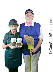 New American Gothic - A senior couple unable to retire is...