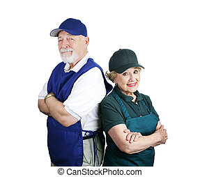 Senior Working Couple - A senior couple unable to retire and...