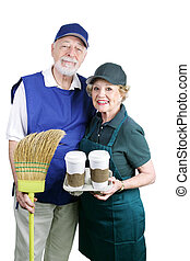 Seniors Back at Work - A senior couple dressed for their day...