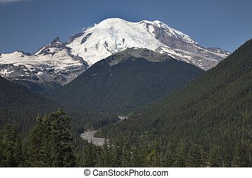 Mount Rainier Valley - Mount Rainier overlooking river and...