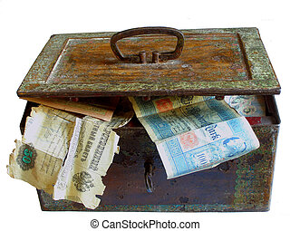rusty chest with money - old chest full of old money