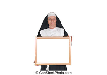 Advertising nun, sister - Middle aged advertising sister,...