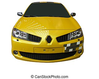 front of yellow race car isolated