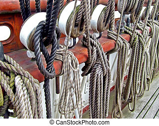 Sailship ropes - Bunch of old ropes on the sail ship