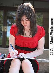 Beatufiul Teen at School - Beautiful 14 year old girl doing...